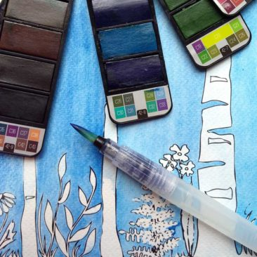 Colouring in with watercolours