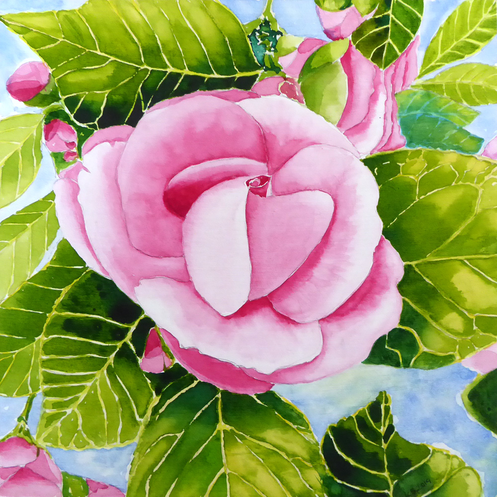 wood panel painted with pink watercolour flower