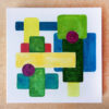 Colourful abstract shapes painiting on small canvas by Karen Smith