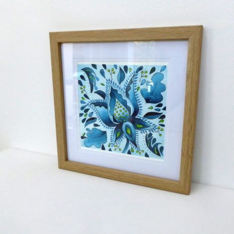 Framed watercolour painting of blue floral designs by Karen Smith