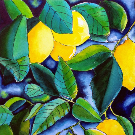 Watercolour painting of lemons ands leaves by Karen Smith