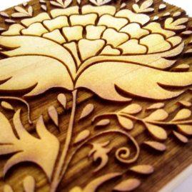 Jacobean Laser Cut Wood Block ©KarenSmith