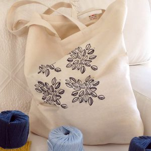 Canvas Tote Bag – Leaf Block Print   Leaf Cluster Pattern