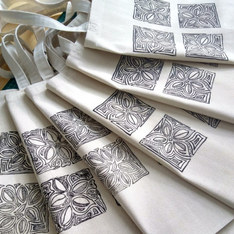 Woodblock hand printed tote bags