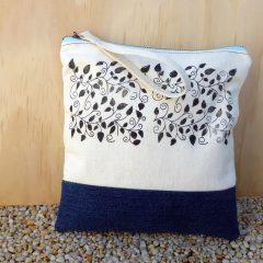 Calico and denim zip bag with wrist strap  – hand-printed leaf block print design
