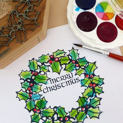 MIcaMicador dor paint & Merry Christmas woodblock print