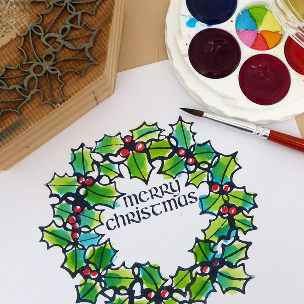 MIcaMicador dor paint & Merry Christmas woodblock print