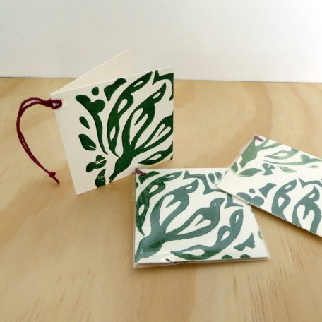 Gift Card Green  Woodblock Print ©Karen Smith