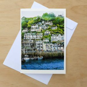 Coastal Print Greeting Card – Looe Harbour